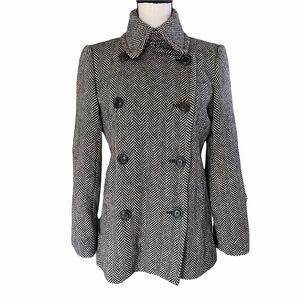 J. Crew Houndstooth Wool Pea Coat Size Medium